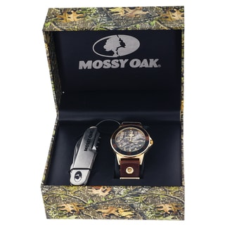 Mossy Oak Men's Camo Brown Watch with Knife Set
