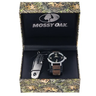 Mossy Oak Men's Camo Officially Infinity Brown Watch with Knife Set