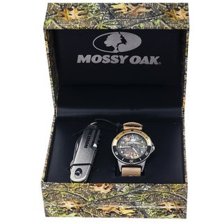 Mossy Oak Men's Camo Officially Infinity Beige Watch with Knife Set