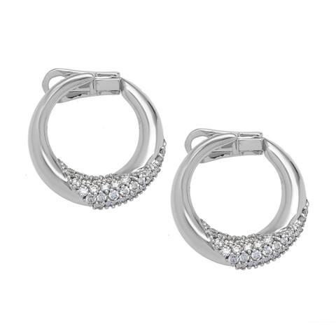 Pre-owned Damiani 18k White Gold 1/2ct TDW Diamond Hoop Estate Earrings (D-F, VS)