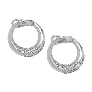 Pre-owned Damiani 18k White Gold 1/2ct TDW Diamond Hoop Estate Earrings (D-F, VS)