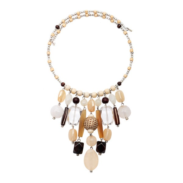 Neutral Bead Drop Coil Necklace - brown/Natural