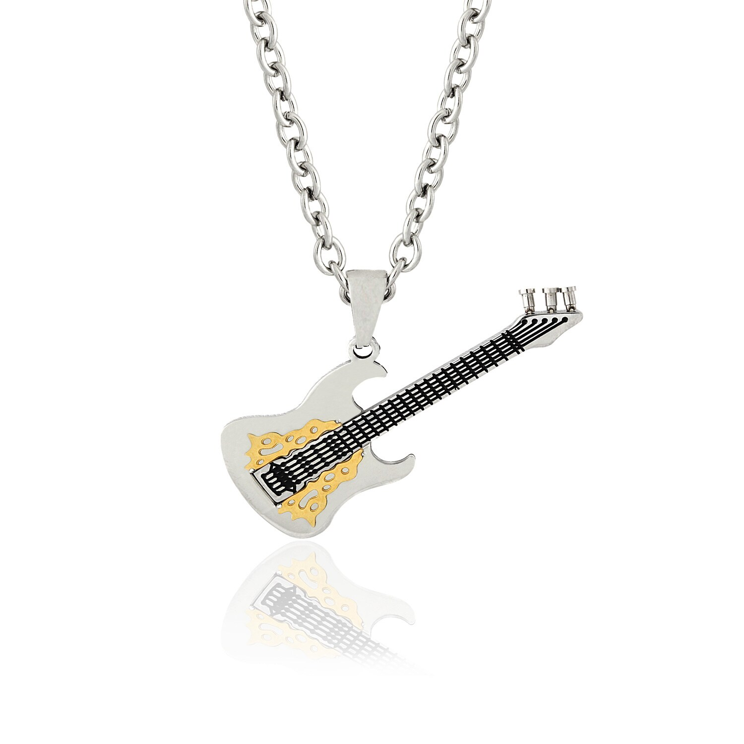 Stainless Steel Silver-Tone Electric Guitar Pendant Necklace