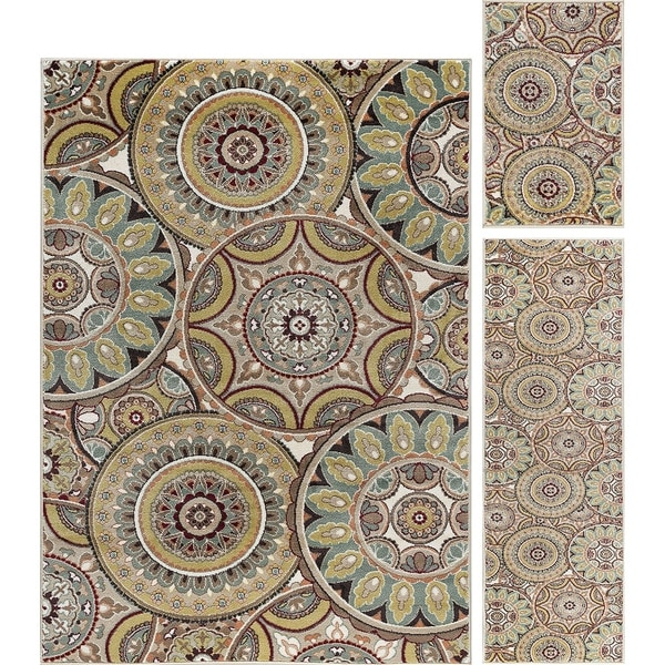 Alise Rugs Decora Transitional Geometric Three Piece Set - multi - 5' x 7'
