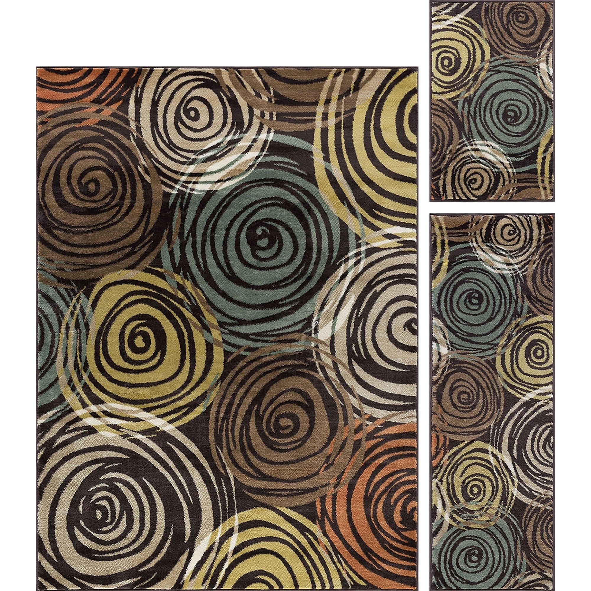 Alise Decora Brown Contemporary Area Rug 3 Piece Set, Siz...