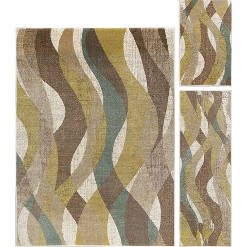 Alise Rugs Decora Transitional Abstract Three Piece Set - 5' x 7'