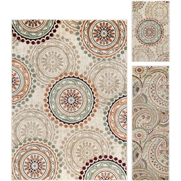 Alise Rugs Decora Transitional Geometric Three Piece Set - 5' x 7'