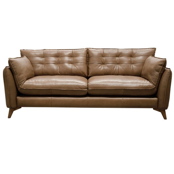 Mid Century Modern Leather Sofa: Shop Toby Aurora Leather 85-inch Mid Century Modern Sofa