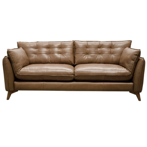 Toby aurora leather 85 inch mid century modern sofa free for Canape oxford honey leather sofa