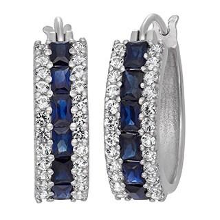 Gioelli Rose Gold Over Silver/ Sterling Silver Created Gemstone Hoop Earrings