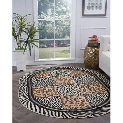 Alise Rugs Lagoon Transitional Animal Oval Area Rug - multi - 5'3 x 7'3