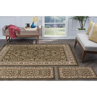 Alise Lagoon Green Traditional Area Rugs (Set of 3)