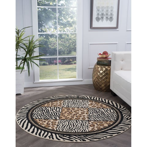 Alise Rugs Lagoon Transitional Animal Round Area Rug - multi - 5'3 x 5'3