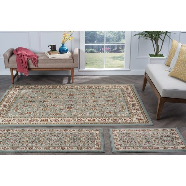 Alise Lagoon Blue Traditional Area Rugs (Set of 3) - 5' x 7'