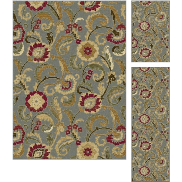 Alise Lagoon Blue Transitional Area Rugs (Set of 3) - 5' x 7'