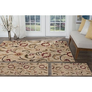 Alise Lagoon Ivory Transitional Area Rugs (Set of 3) - 5' x 7'