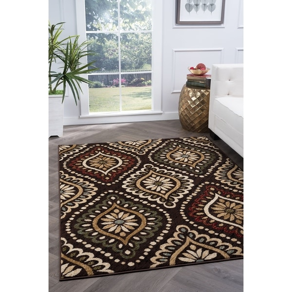 Alise Lagoon Brown Transitional Area Rug - 7'6 x 9'10