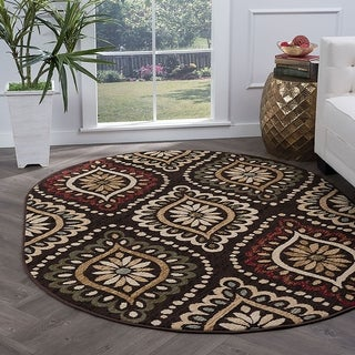Alise Rugs Lagoon Transitional Medallion Oval Area Rug - 5'3 x 7'3