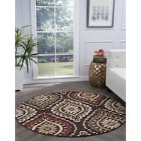 Alise Rugs Lagoon Transitional Medallion Round Area Rug - 5'3 x 5'3