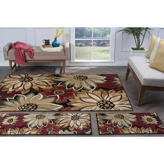 Alise Rugs Lagoon Transitional Floral Three Piece Set - 5' x 7'