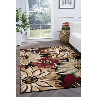 Alise Lagoon Black Transitional Area Rug (5' x 7')
