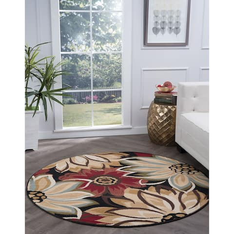 Alise Rugs Lagoon Transitional Floral Round Area Rug - 5'3 x 5'3