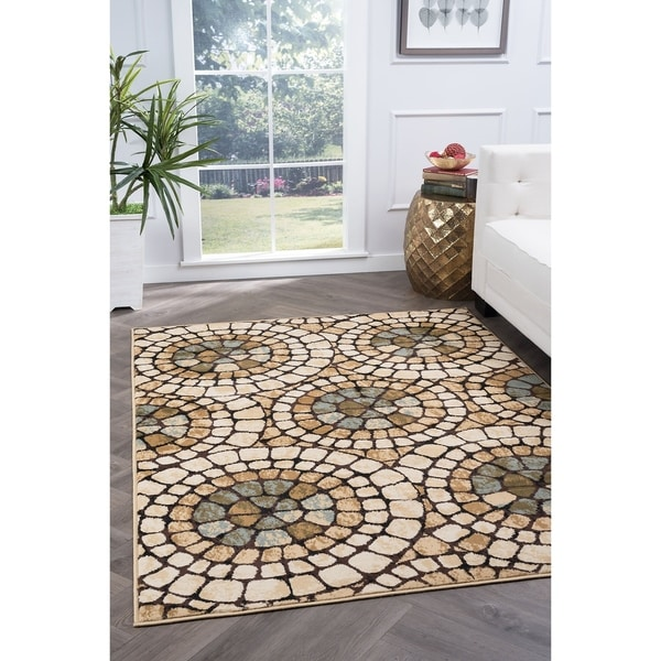 Alise Rugs Lagoon Transitional Mosaic Area Rug - 5' x 7'