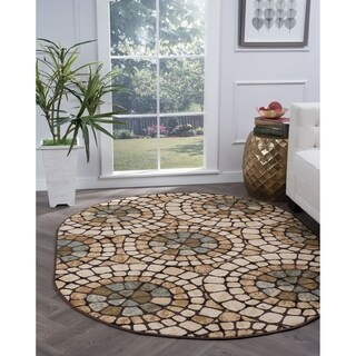 Alise Lagoon Multi Oval Transitional Area Rug (5'3 x 7'3 Oval) - 5'3 x 7'3