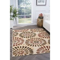 Alise Lagoon Ivory Contemporary Area Rug - 3'3 x 4'11