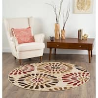 Alise Lagoon Ivory Contemporary Area Rug (7'10 Round)