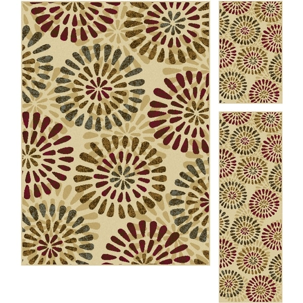Alise Lagoon Ivory Contemporary Area Rugs (Set of 3)