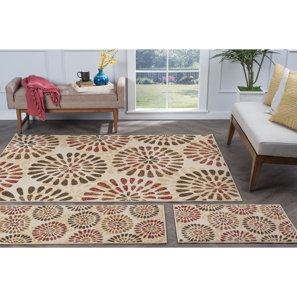Alise Lagoon Ivory Contemporary Area Rugs (Set of 3) - 5' x 7'