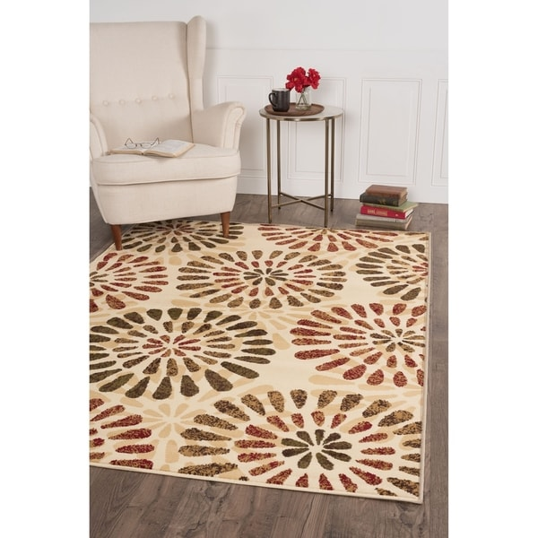 Alise Lagoon Ivory Contemporary Area Rug - 5' x 7'