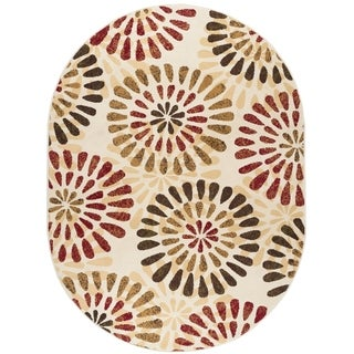 Alise Lagoon Ivory Oval Contemporary Area Rug (5'3 x 7'3 Oval)