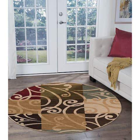 Alise Rugs Lagoon Transitional Geometric Round Area Rug - 5'3 x 5'3