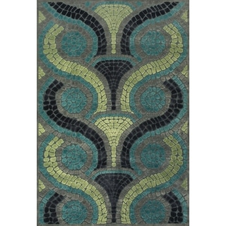 "Grand Bazaar Power Loomed Viscose Carrara Rug in Steel / Dark Gray 5'-3"" X 7'-6"" - 5'-3"" x 7'-6"""