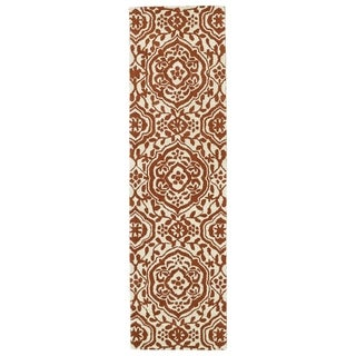 Runway Pumpkin/Ivory Damask Hand-tufted Wool Rug (2'3' x 8')