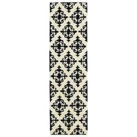 Runway Black/Ivory Damask Hand-tufted Wool Rug (2'3 x 8')