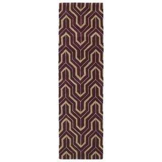 Cosmopolitan Plum/Camel Hand-tufted Wool Rug (2'3 x 8')