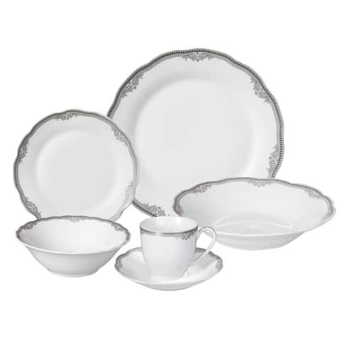 Lorren Home Trends 'Elizabeth' 24-piece Porcelain Dinnerware Set