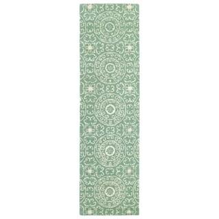 Runway Mint/Ivory Suzani Hand-tufted Wool Rug (2'3' x 8')