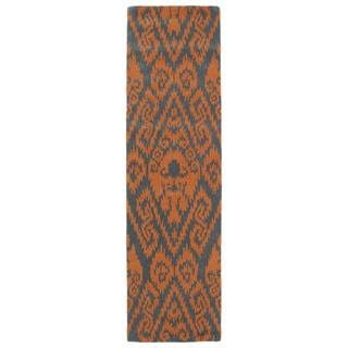 Runway Orange/Charcoa Ikat Hand-tufted Wool Rug (2'3' x 8')