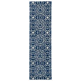 Runway Navy/Ivory Suzani Hand-tufted Wool Rug (2'3' x 8')