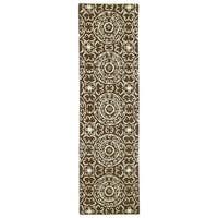 Runway Brown/Ivory Suzani Hand-tufted Wool Rug (2'3' x 8')