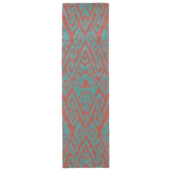 Shop Runway Pink/Teal Ikat Hand-tufted Wool Rug (2'3' X 8