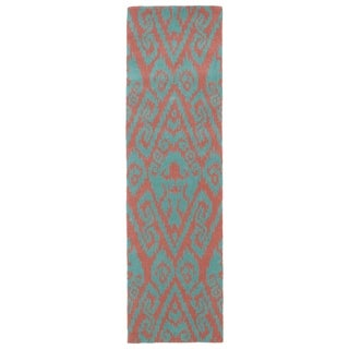 Runway Pink/Teal Ikat Hand-tufted Wool Rug (2'3' x 8')