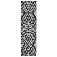 """Runway Charcoal/Grey Ikat Hand-tufted Wool Rug (2'3' x 8') - 2'3"""" x 8'"""