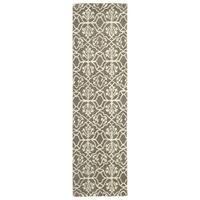 Runway Light Brown/Ivory Hand-tufted Wool Rug (2'3' x 8')
