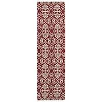 Runway Berry/Ivory Hand-tufted Wool Rug (2'3' x 8')