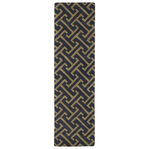 "Cosmopolitan Charcoal/Brown Hand-tufted Wool Rug (2'3 x 8') - 2'3"" x 8'"
